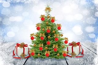 New Year Tree with Snow sfondi gratuiti per cellulari Android, iPhone, iPad e desktop