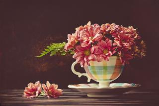 Chrysanthemums in ingenious vase papel de parede para celular