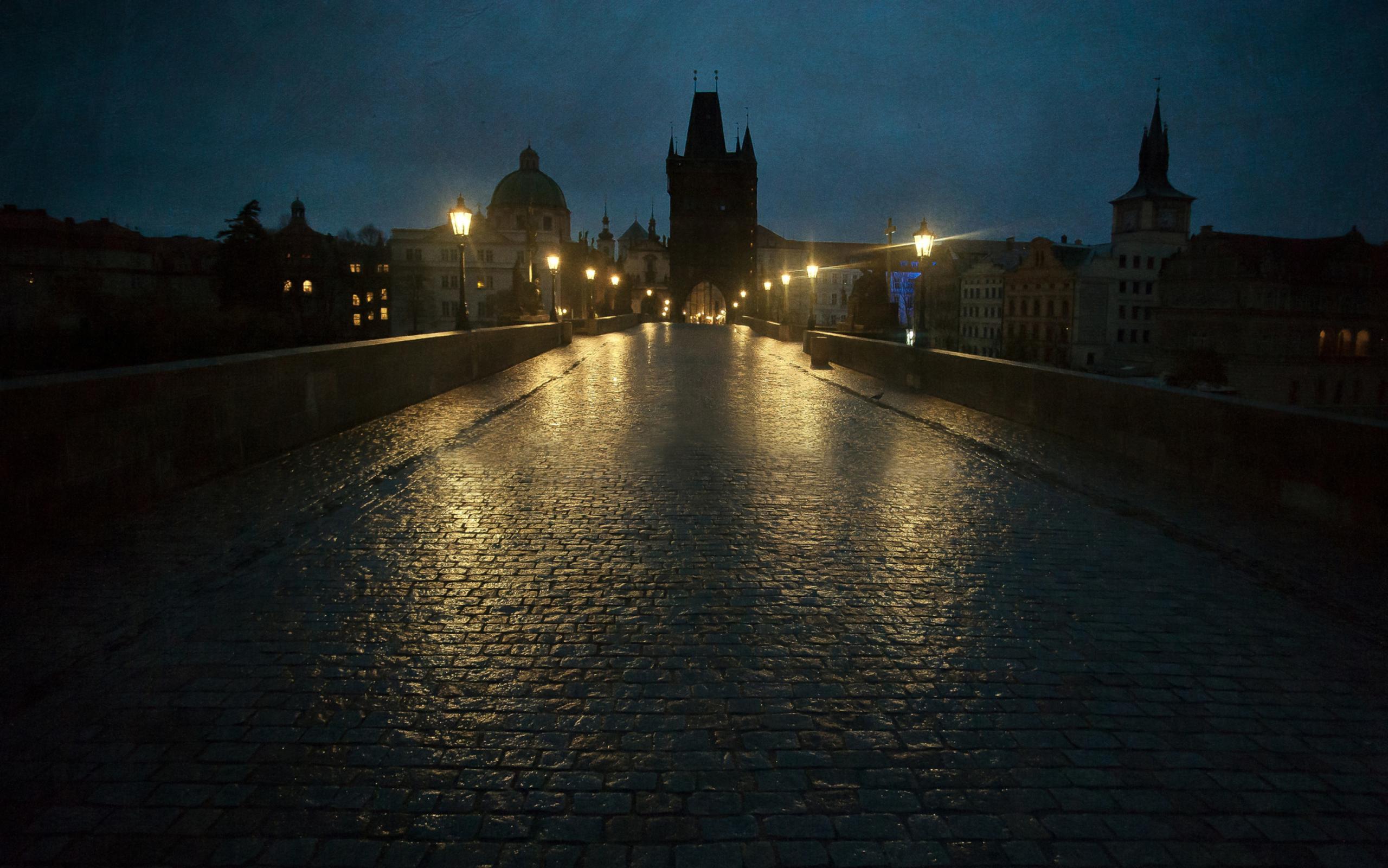 Франция дороги ночь фонари  № 2229333  скачать