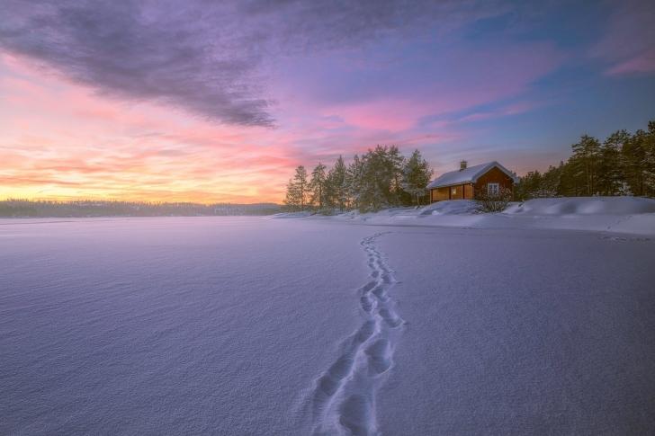 Footprints on snow wallpaper
