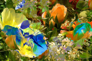 Stylized Summer Drawn Flowers Background for Android, iPhone and iPad