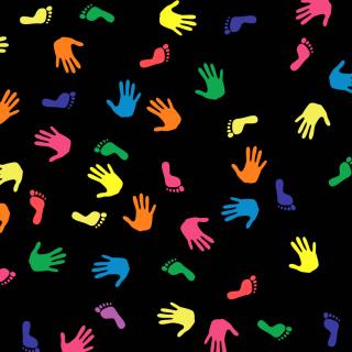 Colorful Hands And Feet Pattern - Obrázkek zdarma pro iPad