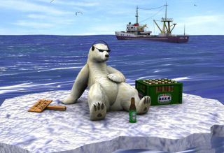 White Bear And Beer Picture for Android, iPhone and iPad
