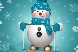 Cute Snowman Blue Hat Background for Android, iPhone and iPad