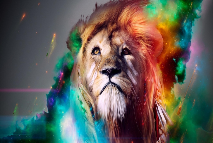 Lion Multicolor Wallpaper For Android, IPhone And IPad
