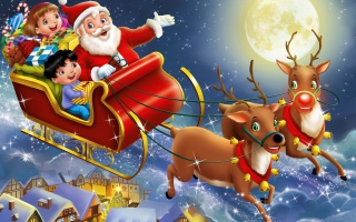 Santa Wishes You A Merry Christmas Wallpaper for Android, iPhone and iPad