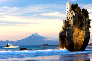 Free Yacht and Castle in Sea Picture for Android, iPhone and iPad