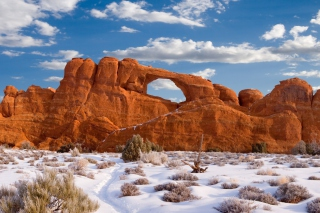 Red Canyon And Snow Background for Android, iPhone and iPad
