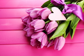 Purple Tulips Bouquet Is Love Picture for Android, iPhone and iPad