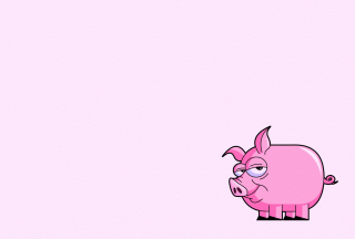Pink Pig Illustration Wallpaper for Android, iPhone and iPad