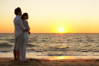 Romantic Walk By Coast On Sunset Background for Android, iPhone and iPad