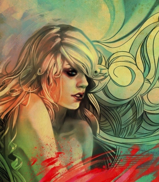 Blonde Woman Painting Wallpaper for 480x854
