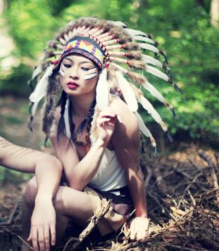 Indian Feather Hat - Obrázkek zdarma pro 128x160