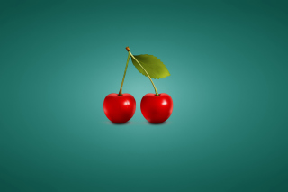 Free Two Red Cherries Picture for Android, iPhone and iPad