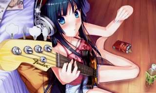 Anime Girl With Guitar Background for Android, iPhone and iPad