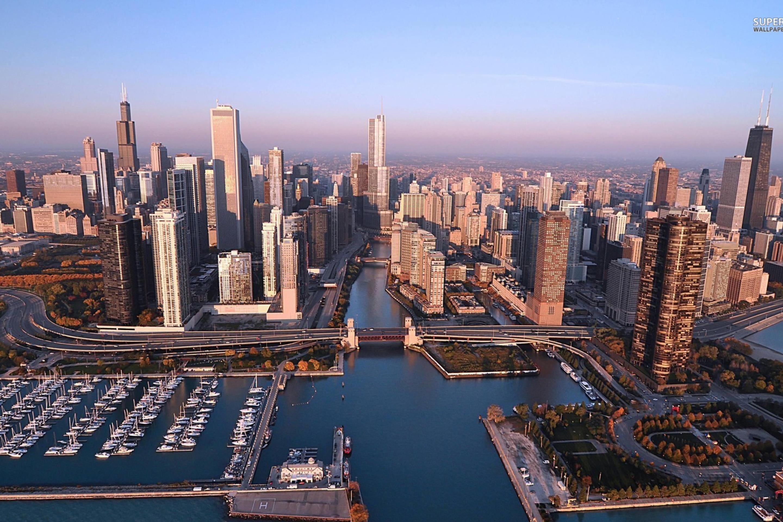 Ночной порт в Чикаго  № 3504506 бесплатно