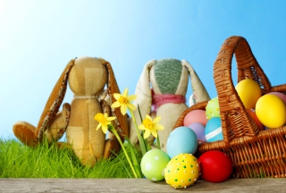 Easter Eggs And Bunny Background for Android, iPhone and iPad