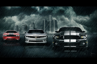 Camaro Challenger and Mustang Background for Android, iPhone and iPad
