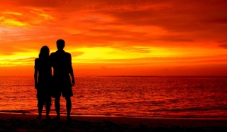 Romantic Silhouettes Background for Android, iPhone and iPad