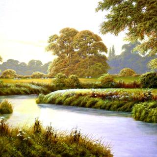 Terry Grundy Autumn Coming Landscape Painting - Obrázkek zdarma pro iPad Air