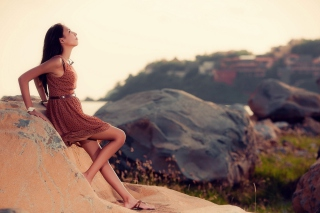 Free Brunette Girl Posing On Rocks Picture for Android, iPhone and iPad