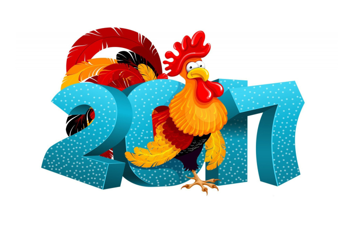 2017 New Year Chinese Horoscope Red Cock Rooster wallpaper