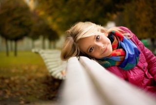 Cute Blonde Girl At Walk In Park Background for Android, iPhone and iPad
