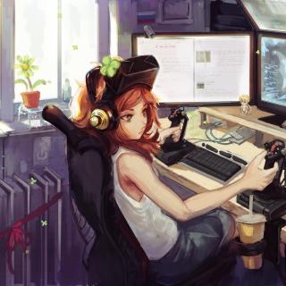 Anime Girl Gamer - Obrázkek zdarma pro iPad