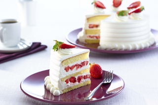 Fresh Strawberry Cake Background for Android, iPhone and iPad