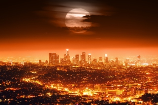 Free Full Moon Above Los Angeles Picture for Android, iPhone and iPad