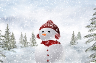 Snowman In Snow Picture for Android, iPhone and iPad