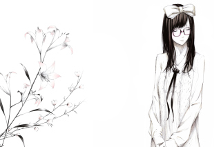 Sketch Of Girl Wearing Glasses And Bow Wallpaper for Android, iPhone and iPad