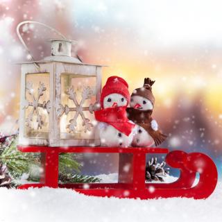 Snowman Christmas Figurines Decoration - Obrázkek zdarma pro iPad