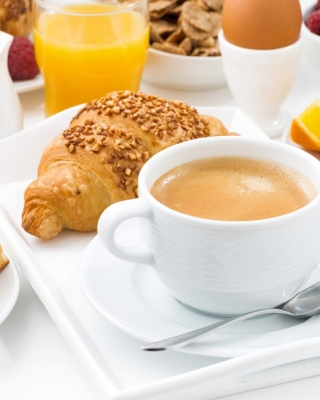 Croissant, waffles and coffee - Obrázkek zdarma pro iPhone 4
