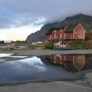 Norway City Lofoten with Puddles - Obrázkek zdarma pro 320x320