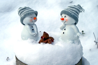 Cute Snowman Christmas Decoration Figurine Background for Android, iPhone and iPad