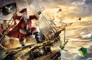 Pirate Santa Background for Android, iPhone and iPad