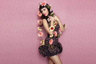 Katy Perry Wearing Flowered Dress Wallpaper for Android, iPhone and iPad