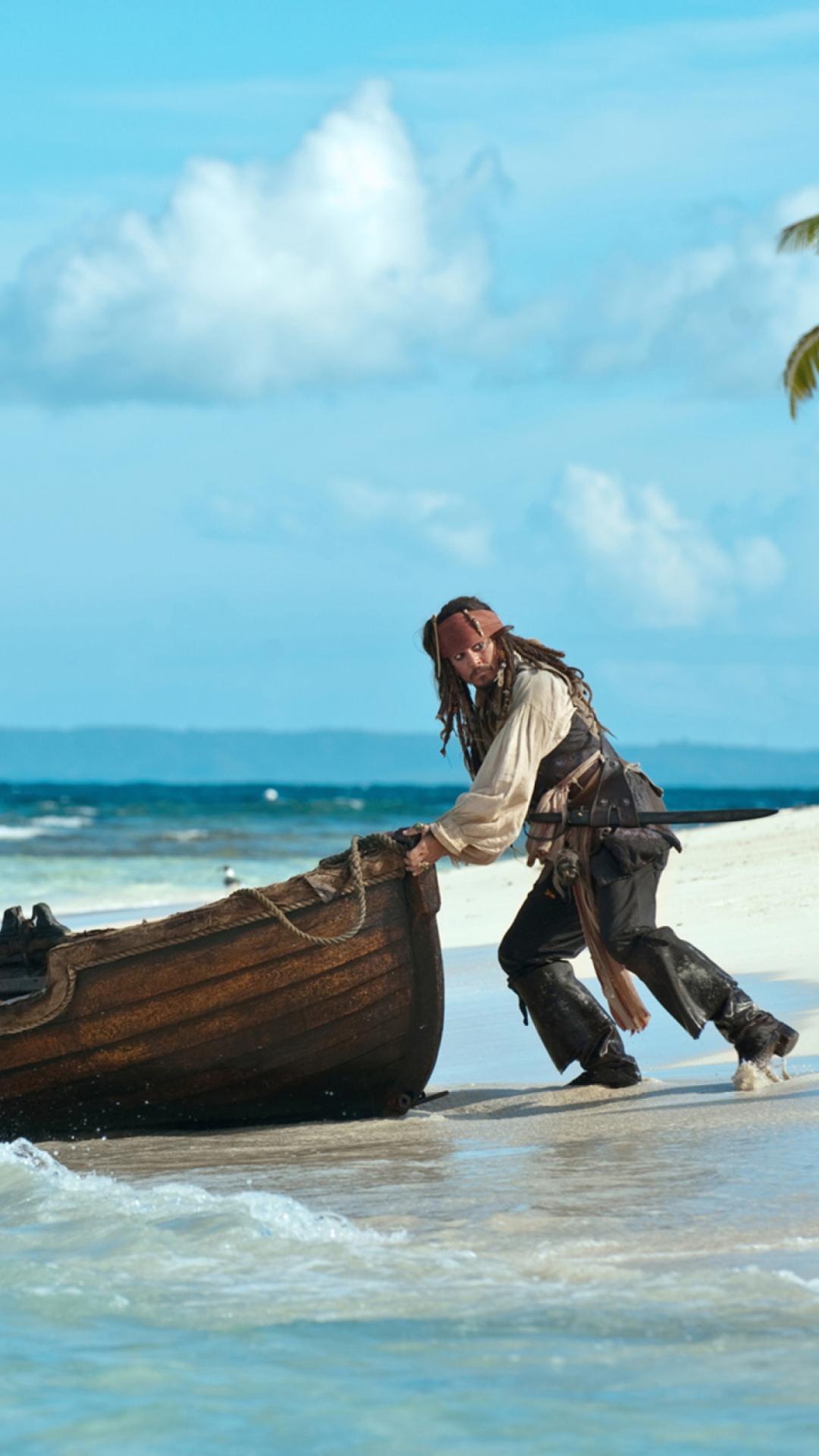 пираты карибского моря джек воробей море природа остров песок лодка вода  № 1386174  скачать