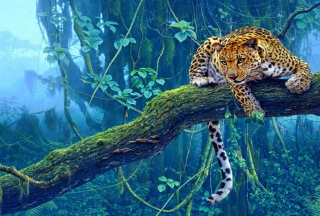 Jungle Tiger Painting Picture for Android, iPhone and iPad