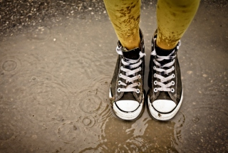 Sneakers And Rain Picture for Android, iPhone and iPad