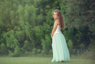 Free Pretty Child In Long Blue Skirt Picture for Android, iPhone and iPad