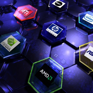 Hi-Tech Logos: AMD, HP, Ati, Nvidia, Asus - Obrázkek zdarma pro 320x320
