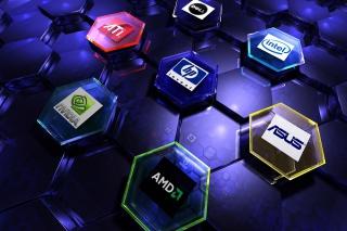 Hi-Tech Logos: AMD, HP, Ati, Nvidia, Asus - Obrázkek zdarma pro Android 1200x1024