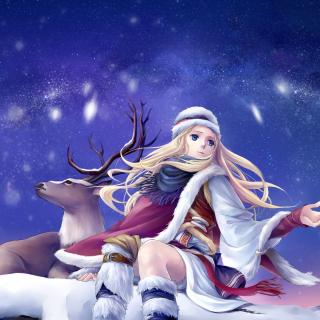 Anime Girl with Deer - Obrázkek zdarma pro 2048x2048