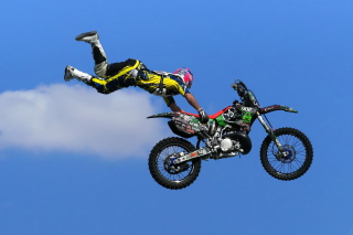 Motorcyclist Ride Jump Picture for Android, iPhone and iPad