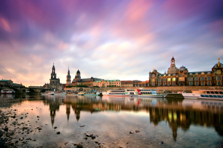 Dresden on Elbe River near Zwinger Palace Background for Android, iPhone and iPad