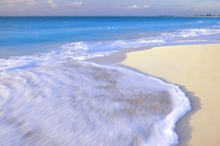 White Beach And Blue Water Background for Android, iPhone and iPad