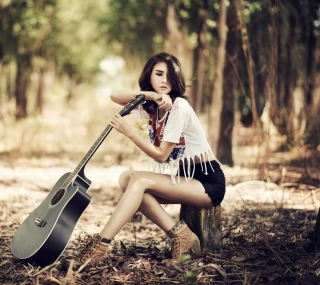 Pretty Brunette Model With Guitar At Meadow - Obrázkek zdarma pro 2048x2048