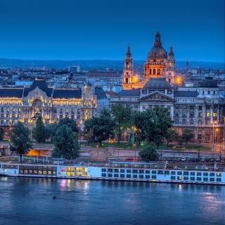 Budapest St Stephens Basilica and Danube Chain Bridge - Obrázkek zdarma pro 208x208